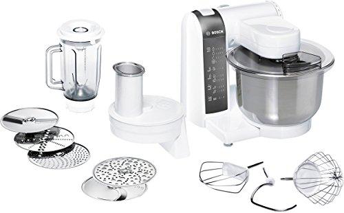 Bosch mum48120de Robot de cuisine 600W, 3,9l acier inoxydable, Saladier, passage 1Disque Réversible pour Râper, Embout de Mixeur, blanc