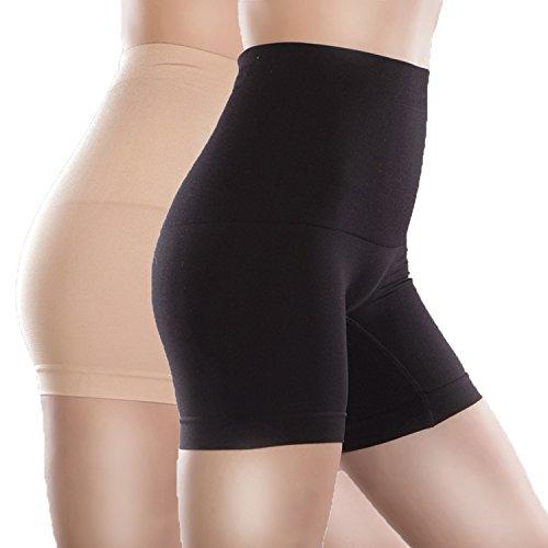 Libella Culotte gainante pour femme Panty taille haute effet ventre plat Gaine amincissante 3605 Noir+Couleur de peau M/L