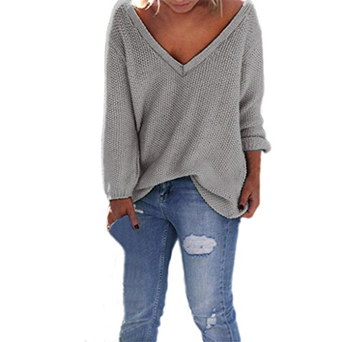 Tonsee Femmes manches longues en maille Pull Tricots en vrac Pull Jumper Tops Gris