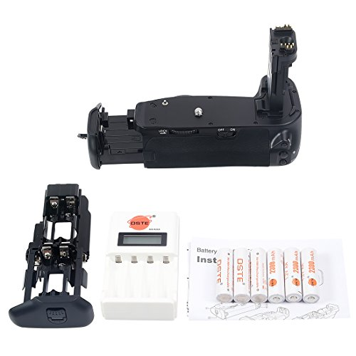 Dste Pro Bg-e13 Bge13 Vertical Battery Grip + 6 Pack Aa Rechargeable Batteries With Ni-mh Ni-cd Aa & AAA Battery Charger For Canon Eos 6d Digital Camera As Lp-e6