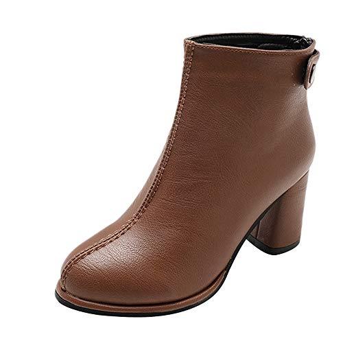 Stiefel Damen, LANSKIRT Frauen PU Lederstiefel Schuhe Runde Zehe Volltonfarbe Stiefel Ankle High Heels Reißverschluss Schuhe Stiefeletten -