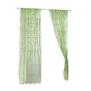 Tende per Finestre Porta Trasparente WINOMO Tende Ricamate Fogli Verde 100x270cm