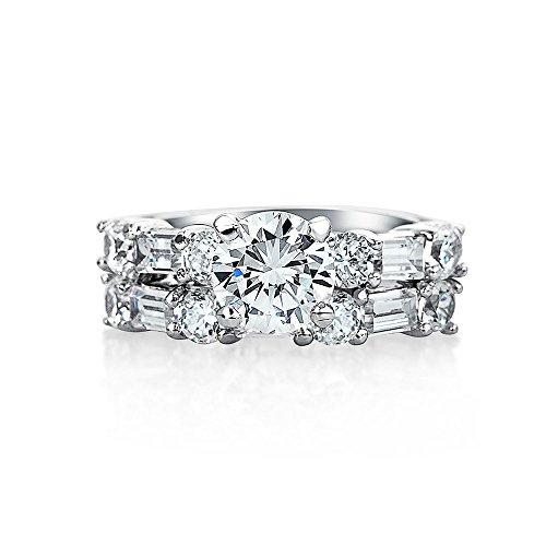 Art-Deco-Stil 2 Ct Runde Solitär Aaa Cz Jahrestag Hochzeit Baguette Band Verlobungsring Set Für Damen Silber - Engagement Ring 2ct Cz