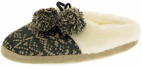 Four Seasons Damen Winter Luxuriöse Pelz gefüttert Gest alpine mule Pantoffeln Grau