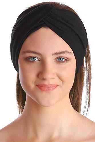 Deresina Headwear Klassisch Kreuz Stirnband für Damen - Schwarz -