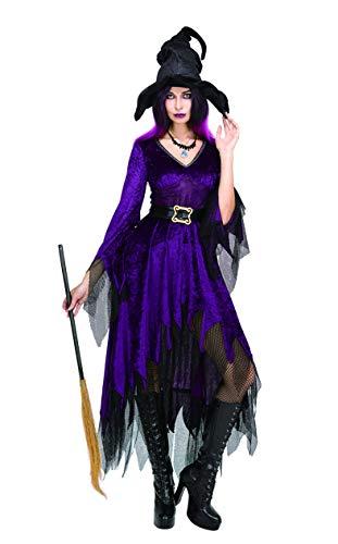 SYMTOP Halloween Kostüm Damen Hexe Verkleidung Zauberin Witch Outfit Kleid Lila Cosplay Party Hexenkostüm mit Hut ()