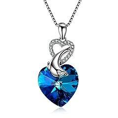 Idea Regalo - Aoboco cuore dell' oceano ciondolo delfino collana con Swarovski cristallo collana in argento Sterling