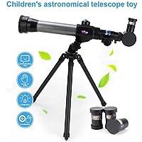 XuBa - Trípode monocular para niños, telescopio astronómico, portátil, HD, para Exteriores, Color Negro
