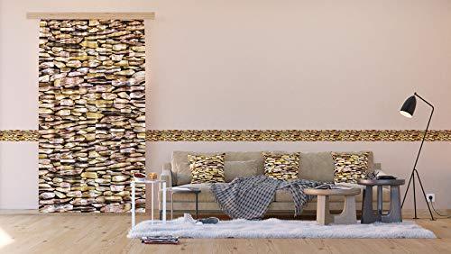 AG Design Steine, Vorhänge für Wohnzimmer, Küche, Schlafzimmer, 140 x 245 cm