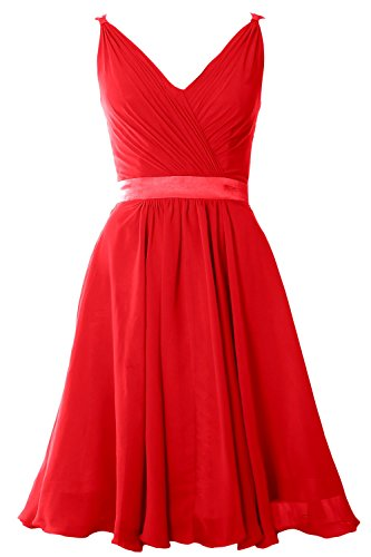 MACloth Women Pleated Chiffon Short Bridesmaid Dress Wedding Cocktail Party Gown Rot