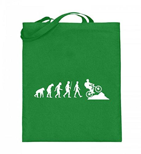 Hochwertiger Jutebeutel (mit langen Henkeln) - Evolution E-Bike Light Green