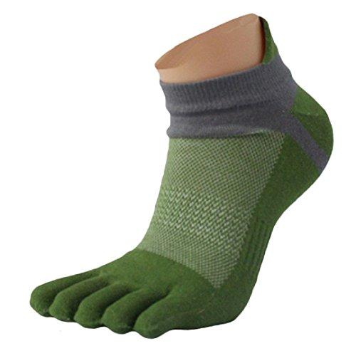 Socken herren Kolylong Männer Sport laufende Zehe Socken Toe Socks (Grün)