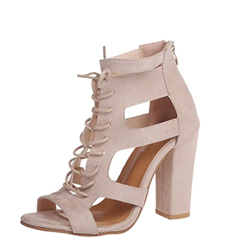 Damen Sandalen Stöckelschuhe 2018 Xinantime Rom Gladiator High Block Heels Ankle Riemchen Lace UP Party Schuhe Frauen 11.5cm Schwarz/Khaki 35-42 (EU 40, Beige C)