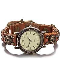 iLove EU Herren Damen Armbanduhr Gotik Piraten Totenkopf Schädel Leder Echtleder Armband Armkette Analog Quarz Uhr mit Römische Ziffern Zifferblatt Braun Gold