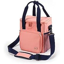 HM&DX Picnic isotherme sac pique-nique pliable panier panier déjeuner refroidisseur fourre-tout pour école camping randonnée-rose 21 15 27cm APDhv8g
