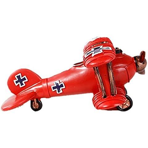 GYN Ornamento de hucha avión continental creativo Vintage (rojo, azul) , red