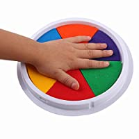 Winkey Toy for 3 4 5 6 7 8 9 + Years Old Kids Girls Boys, 6 Colors DIY Ink Pad Stamp Finger Painting Craft Cardmaking Large Round For Kids
