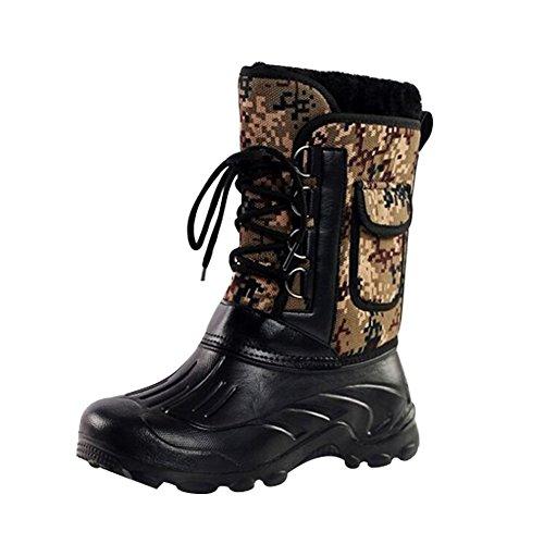 Eagsouni® Homme Bottes de Neige Hiver Chaudes Outdoor Chaussures de Randonnée Boots de Pluie Caoutchouc Fourrure Doublée Imperméable Camouflage C