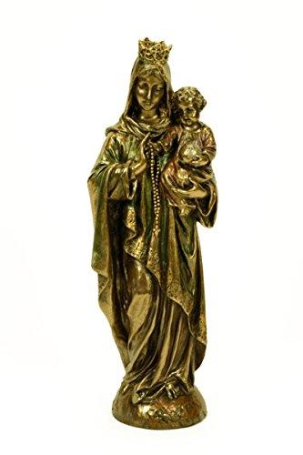 CAPRILO Figura Religiosa Decorativa Virgen del Rosario con Niño en Brazos Esculturas Resina. 8 x 7 x 25 cm.