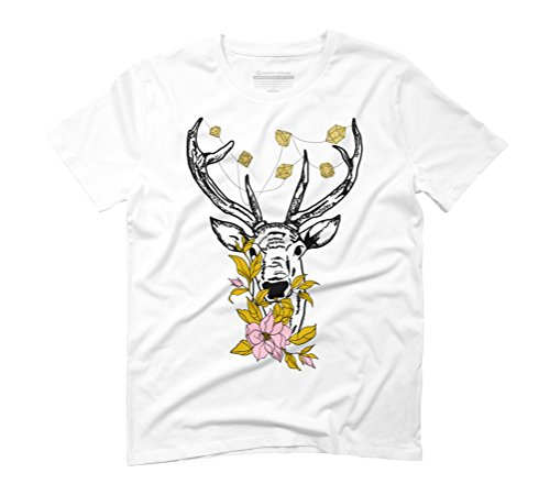 Flower Jewel White Tee (Deer with crystals and flowers Men's 3X-Large White Graphic T-Shirt - Design By Humans)