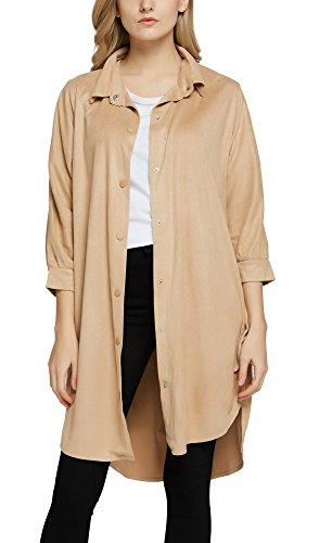 Damen Wildleder-Optik Button-Down Long Shirt Kleid Mantel Outwear Tops (XL, Aprikose)