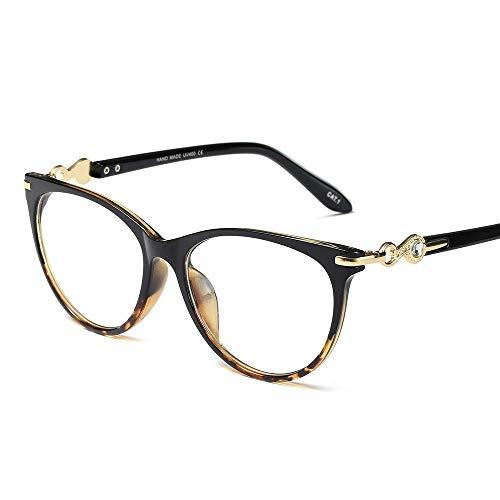 Retro-Brillen mit großem Rahmen, Brillenglas mit optischem Rahmen, Ultraleicht. Accessoires (Farbe : Black/Leopard)