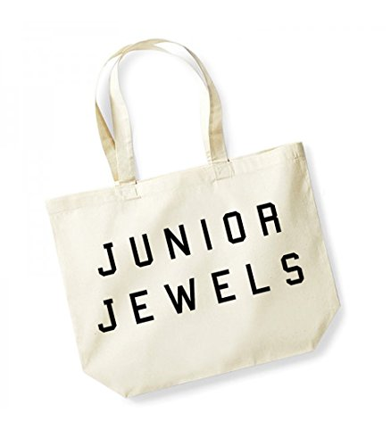 Junior Jewels - Large Canvas Fun Slogan Tote Bag (Natural/Black) (Black Handtaschen Tote Junior)