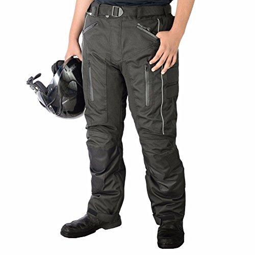 Pantalones impermeables de motero, para hombre - tejido Cordura, protectores de rodillas y muslos aprobados por la CE