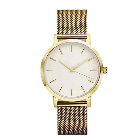 Ihee Bracelet Porter très Comfortableclassic pour femme pour homme montre bracelet en acier Sangle à quartz décontracté montres nouveaux Mode M doré