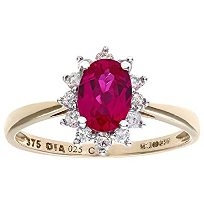Naava Round Brilliant 0.25ct Ruby and Diamond 9ct Gold Oval Cluster Ring