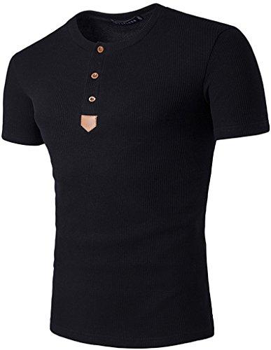 Whatlees Herren Urban Basic Henley T-shirts Muskelshirt mit schwer Baumwolle Jersey in Versch.Farben B479-Black