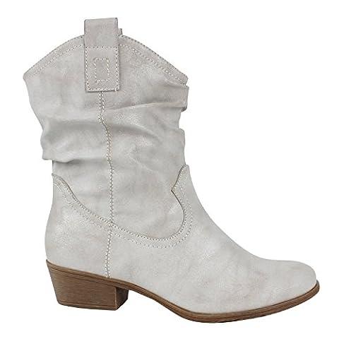 Japado , Bottes et bottines cowboy femme - Gris - Gris, 36