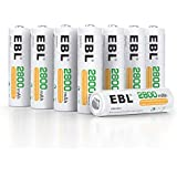 EBL 8pcs AA Piles Rechargeables Ni-MH 2800mAh Grande Capacité, R6 Rechargeables 1200 Cycles avec boîtes de Piles