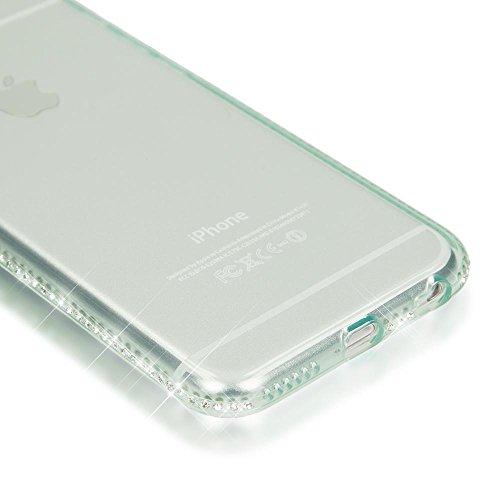 iPhone 6 6S Hülle Handyhülle von NICA, Durchsichtiges Slim Silikon Case mit Transparenter Rückseite & Strass-Bumper, Dünne Schutzhülle Handy-Tasche Back-Cover für Apple iPhone 6S 6 - Grau Grün