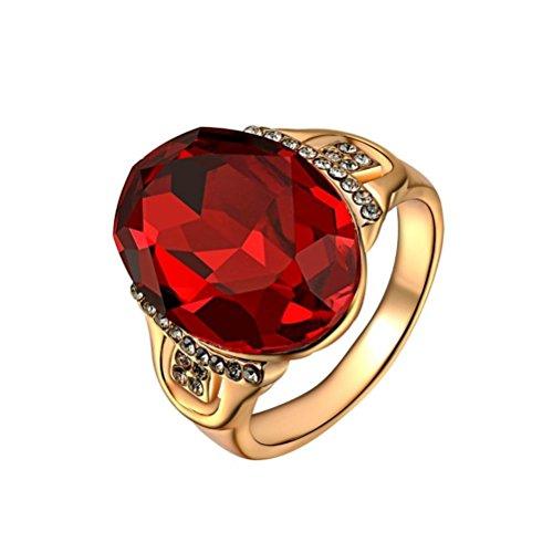 PAURO Donna Placcato In Oro Rosa Rosso Rubino Ovale Cristalli Austriaci Wedding Band Ring Taglia 14