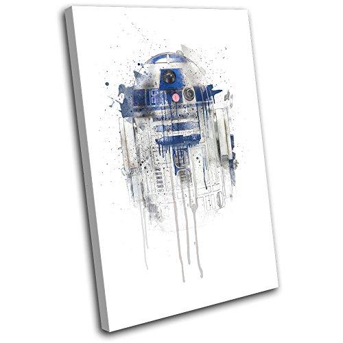 Bold Bloc Design - R2D2 Star Wars Paint Movie Greats 45x30cm SINGLE Leinwand Kunstdruck Box gerahmte Bild Wand hangen - handgefertigt In Grossbritannien - gerahmt und bereit zum Aufhangen - Canvas Art Print - Art Print Canvas