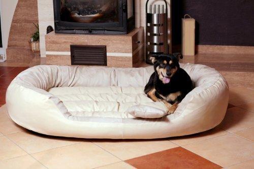 TIERLANDO Hundebett PHILIP Hundesofa Ph6-AA-05 Gr. XXXL 1,7 Meter 170cm CREME Velours Dogge