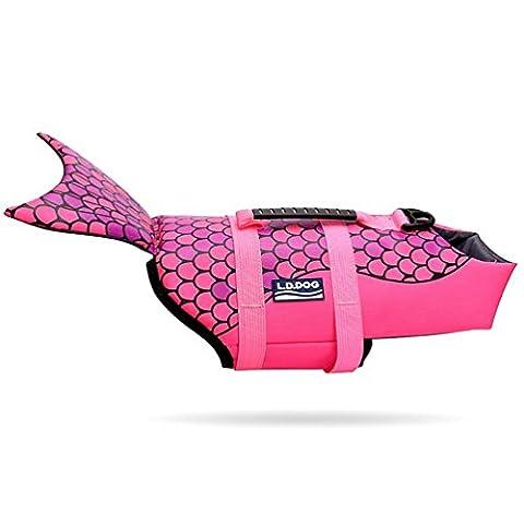 Smalllee _ Lucky _ Ranger pour animal domestique Chien Adventure sauvetage économiseur de style de poisson Float Manteau pour chien Vêtements d'entraînement de natation piscine plage Apparel