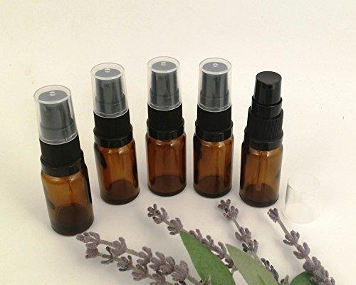 5-x-amber-glass-aromatherapy-bottle-with-black-treatment-pump-lotion-pump-choose-size-10ml-20ml-25ml