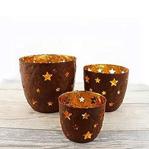 Teelichthalter Sterne 3er Set | Weihnachtsdeko Teelichtschalen | Windlicht Deko mit Sterne | Windlicht aus Glas
