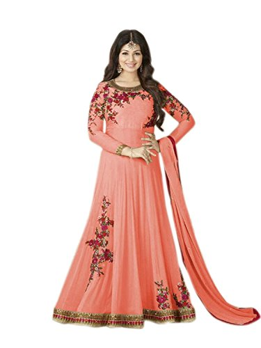 Aadhya Export Latest Designer Peach colour Georgette Party wear Wedding Special Anarkali Suit  available at amazon for Rs.1999