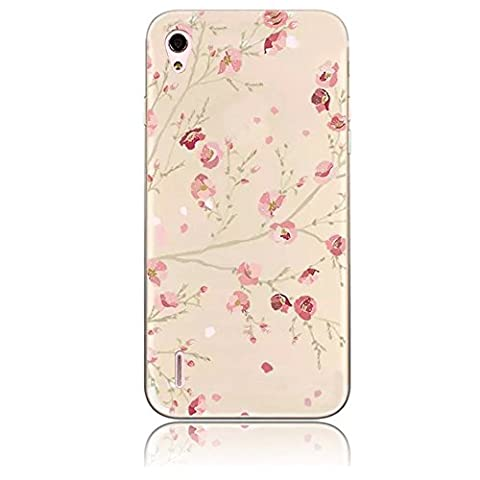 Sunroyal Huawei Ascend P7 Thin Hülle TPU Case Schutzhülle Silikon Crystal Kirstall Clear Case Durchsichtig Bunt Blume, Beautiful Rosa Blooming Blume Flower in Spring Malerei Muster