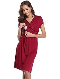 cf9b116dde24 Hawiton Pigiama Camicia da Notte Premaman da Donna Morbido in Cotone Vestito  Camicia da Notte per