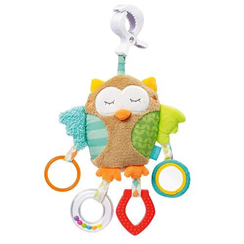 Fehn 071160 Activity-Spieltier Eule - Motorikspielzeug zum Aufhängen - Für Babys und Kleinkinder ab 0+ Monaten - Maße: 25 cm -