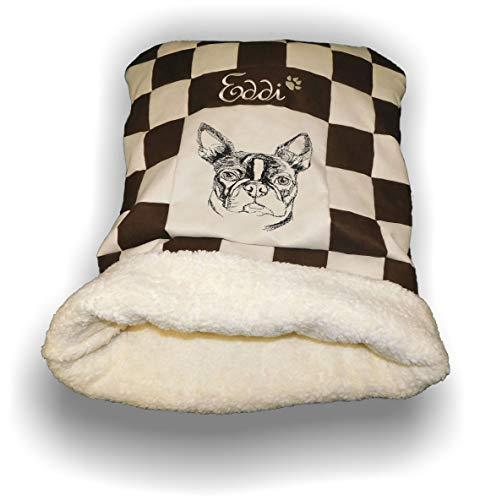 LunaChild Hunde Kuschelhöhle Handmade Schlafsack Kuschelsack Hundebett Boston Terrier 2 Name Wunschname bestickt Snuggle Bag S M L XL vielen Farben personalisiert persönliches Geschenk - Personalisierte Boston Bag