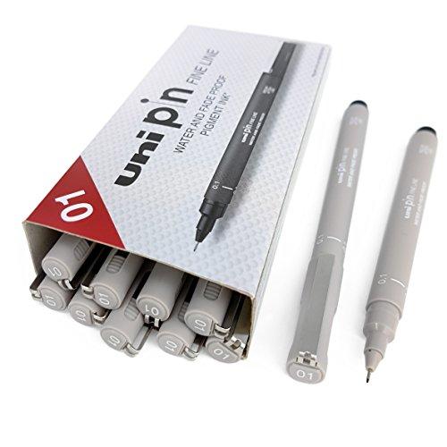 Uni Pin Fineliner, Stift–hellgrau–1mm, 12Stück