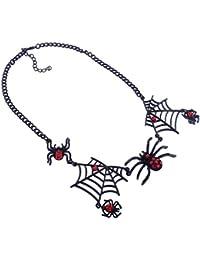 BESTOYARD Arañas Collares Joyas de Halloween para Disfraces Disfraces Accesorio Accesorio (Negro)