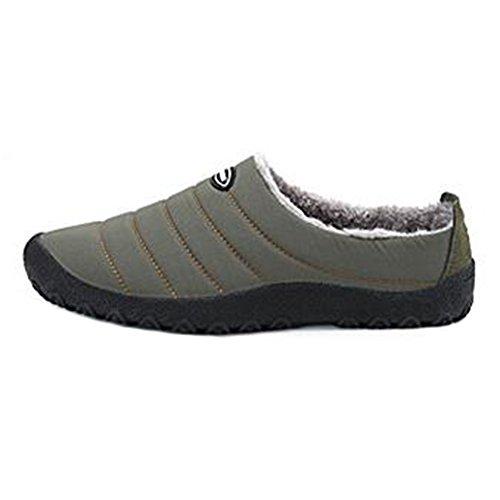 Chaussures Fluffy Sur Air Hibote Chaussure Étanche Basse Kaki Slip Neige en Top Maison Doublé Chaud Hommes Plein Hiver Pantoufles Femmes IAqOTA4