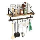 Love-KANKEI Küchenregal Küchenablage und Pfannenhalter, Herdablage - Rustikale Küche Organizer mit Holzbrett und 8 abnehmbaren Haken zum Organisieren von Kochutensilien, Multi-Einsatz als Gewürzregal