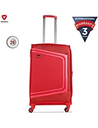 Traworld Tokyo Expandable Premium Jacquard Material 69cm Red Soft Sided 4 Wheels Spinner Travel Trolley Luggage Suitcase